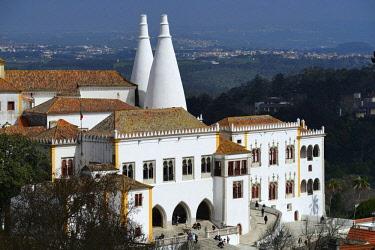 HMS2482270 Portugal, Lisboa e Setubal Province, Lisbon Region, Sintra Town, National Palace (Palacio Nacional), a Royal Palace with its origins dating back to the 15th century