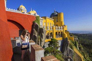 HMS2617832 Portugal, Lisboa e Setubal Province, Sintra listed as World heritage by UNESCO, Pena National Palace, overlooking the Atlantic Ocean