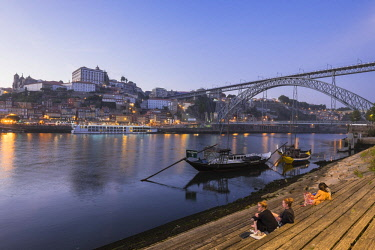 HMS2255211 Portugal, North region, Porto, historic centre and Dom Luis bridge listed as World Heritage by UNESCO, built between 1881 and 1886 by Theophile Seyrig, Gustave Eiffel disciple, seen from Vila Nova de...