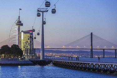 HMS2585914 Portugal, Lisbon, Parque das Nacoes (Nations' Park) built for the Universal Expo 98 World Exhibition, the viaduct Vasco de Gama and Vasco de Gama Tower hosting the hotel Myriad by SANA Hotels and cabl...
