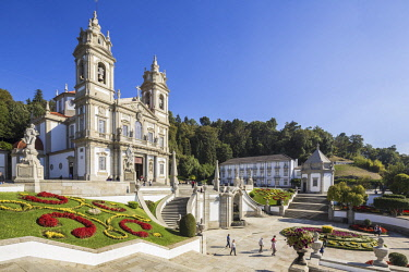 HMS2681598 Portugal, Minho region, Braga, European capital of youth 2012, the sanctuary of Bom Jesus do Monte which can be reached through a monumental staircase with 600 steps