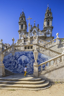 HMS2686060 Portugal, Douro, Lamego, northern region, district of Viseu, the sanctuary Nossa Senhora dos Remedios ans his staircase of 686 walking with double flight and its landings decorated with azulejos