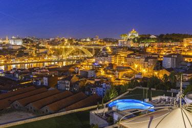 HMS2690417 North region, Porto, view of the historic centre listed as World Heritage by UNESCO since the Port wine cellars of Vila Nova de Gaia, the former convent of Nossa Senhora do Pilar and Dom Luis bridge l...
