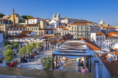 HMS2858404 Portugal, Lisbon, view over the rooftops of the Alfama district from the terrace of Largo das Portas do Sol and Portas do Sol restaurant