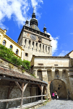 Romania, Transylvania, Sighisoara, one of the seven saxon fortified cities in Transylvania, listed as World Heritage by UNESCO, Turnul cu ceas (the clock tower)