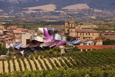 HMS3091808 Spain, Southern Basque Country, Alava, Rioja Alavesa, Elciego, Bodegas Marques de Riscal wine cellar, Vinotherapy Hotel designed by Frank O. Gehry architect