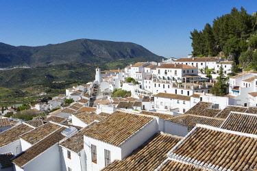 HMS2653471 Spain, Andalucia, Cadix province, Zahara de la Sierra, Sierra de Grazalema Natural Parc, high angle view of the tiled roof and San Juan de Letran chapel