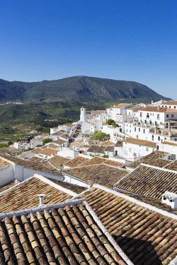HMS2653473 Spain, Andalucia, Cadix province, Zahara de la Sierra, Sierra de Grazalema Natural Parc, high angle view of the tiled roof and San Juan de Letran chapel