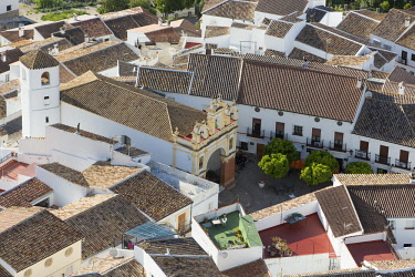 HMS2653477 Spain, Andalucia, Cadix province, Zahara de la Sierra, Sierra de Grazalema Natural Parc, high angle view of the tiled roof and San Juan de Letran chapel