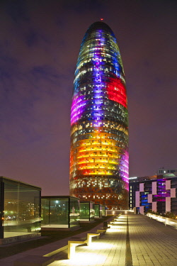 HMS2104843 Spain, Catalonia, Barcelona, Agbar Tower by architect Jean Nouvel