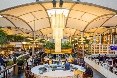 HMS2432841 Spain, Catalonia, Barcelona, Eixample, El Nacional grouping 4 restaurants and 4 bars, gourmet space (2, 600 m2) opened in 2014 and housed in renovated 1889 building in the foreground oyster bar