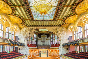 HMS2432916 Spain, Catalonia, Barcelona, Palace of Catalan Music (Palau Musica Catalana) designed by the architect Lluis Domenech i Montaner and opened in 1908, building listed as World Heritage by UNESCO, concer...