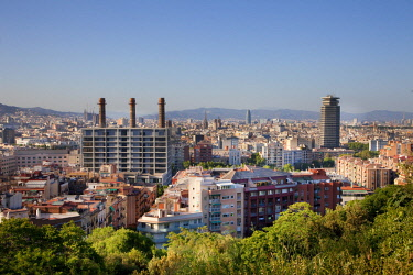 HMS2680757 Spain, Catalonia, Barcelona, Montjuic, Panoramic view, les Tres Xemeneies, The Three Fireplaces in the Paralel district