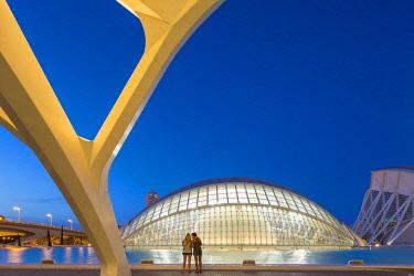 HMS2857925 Spain, Valencia, City of Sciences and Arts, The Hemisferic by the architect Santiago Calatrava