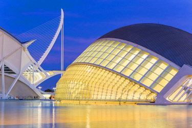 HMS2857978 Spain, Valencia, City of Sciences and Arts, Hemisferic by architect Santiago Calatrava