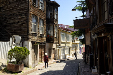 HMS2097133 Turkey, Istanbul, historical center listed as World Heritage by UNESCO, Sultanahmet district, street and wooden house
