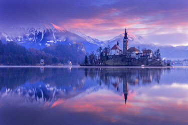 CLKSS77607 San Martino church and lake Bled at sunrise, Slovenia