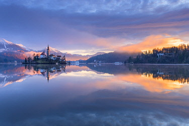 CLKSS77613 Bled at the first light of sunrise Europe, Slovenia, Bled
