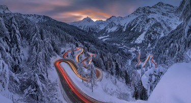 CLKRM76791 Panoramic of car lights at night, Maloja Pass, Engadin, canton of Graubunden, Switzerland