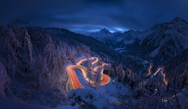 CLKRM76792 Panoramic of car lights at night, Maloja Pass, Engadin, canton of Graubunden, Switzerland