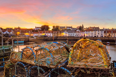 CLKFV78134 View of historic fishing harbour at St Monans on East Neuk of Fife in Scotland, United Kingdom