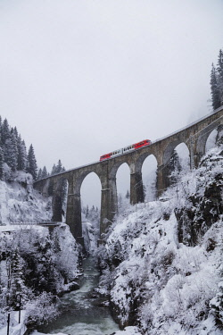 FRA10222 Europe, France, Rhone Alps, Haute Savoie, Chamonix, Mont Blanc Express train going over Viaduct St Marie