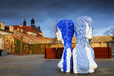 Europe, Czech Republic, Prague, modern art installations at the Bastion, statue of 3 Gracies, Unesco listed historic old town center