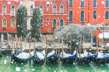 ITA12006AW Venice, Veneto, Italy. Snowfall over moored gondolas along the Grand Canal (Canal Grande).