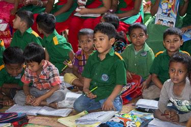 AS03CMI0008 Bangladesh, Chittagong, Maheshkhali Island (aka Mahesh Khali) Village primary school, school children in uniforms.