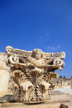 ISR0401 Israel, Beit Shean. An ornamented marble column top.