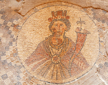 ISR0402 Israel, Beit Shean. Mosaic depicting Tyche the Roman godess of good fortune and godess of the city at the Sygma Plaza in the house of Leontius build in the Byzantine period.