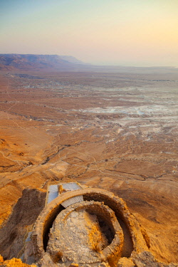 ISR0390 Israel, Dead Sea, Masada. Views from atop Masada with ruins of Herod the Great s Residential palace