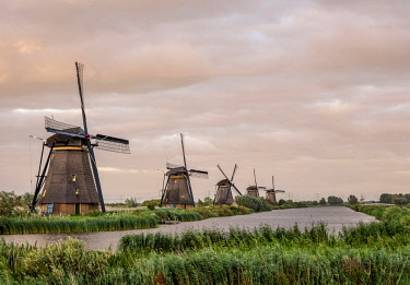 NLD0723AW Windmills in Kinderdijk at sunset, UNESCO World Heritage Site, South Holland, The Netherlands