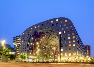 NLD0733AW Market Hall at twilight, Rotterdam, South Holland, The Netherlands