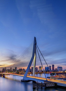 NLD0752AW Erasmus Bridge at dusk, Rotterdam, South Holland, The Netherlands