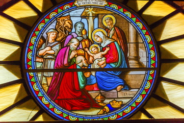 AS14WPE0028 Three Kings Nativity Stained Glass Saint Catherine Church of the Nativity, Bethlehem, West Bank, Palestine. Location of Jesus' birth in writings in 160 AD, church built in 326 AD by Constantine