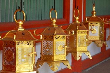 AS15BJY0170 Japan, Nara. Hanging lanterns in Kasuga Taisha Shinto Shrine. Dennis Flaherty