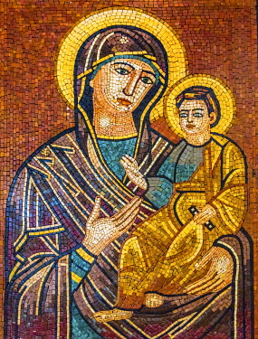 AS16WPE0071 Mary Baby Jesus Christ Mosaic Saint George's Greek Orthodox Church, Madaba, Jordan. Church was created in the late 1800's and houses many famous mosaics