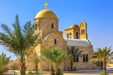 John Baptist Greek Orthodox Church near Jordan River. Actual baptism site of Jesus. Jordan River Moved and Ruins are of Byzantine Churches marking spot of baptism. Rediscovered late 1990's and early 2...