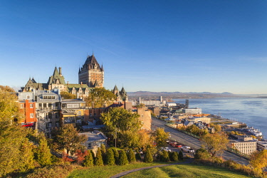 CA04188 Canada, Quebec, Quebec City, elevated skyline with Chateau Frontenac hotel