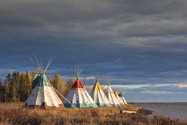CA04257 Canada, Quebec, Gaspe Peninsula, Gesgapegiag, Mic-Mac First Nations tee-pees by the Baie des Chaleurs