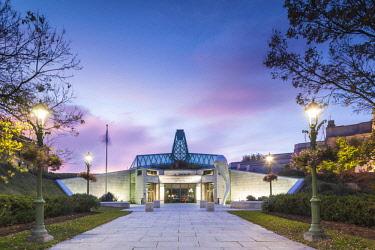 CA04275 Canada, Quebec, Quebec City, Musee national des Beaux-Arts du Quebec, MNBAQ, main building, exterior entrance, dawn