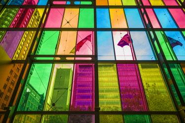 CA04325 Canada, Quebec, Montreal, Palais des Congres de Montreal, convention center. colored windows