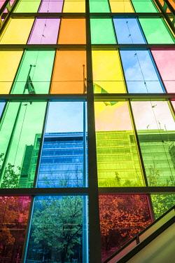 CA04326 Canada, Quebec, Montreal, Palais des Congres de Montreal, convention center. colored windows