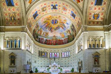 CA04330 Canada, Quebec, Montreal, Little Italy, Eglise Madonna Della Difesa church,  fresco of Benito Mussolini, Italian fascist dictator, on the ceiling by Guido Nincheri