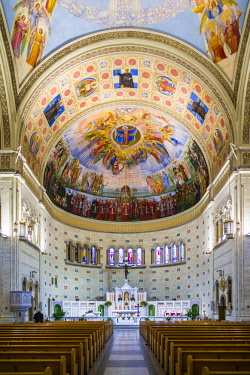 CA04331 Canada, Quebec, Montreal, Little Italy, Eglise Madonna Della Difesa church,  fresco of Benito Mussolini, Italian fascist dictator, on the ceiling by Guido Nincheri