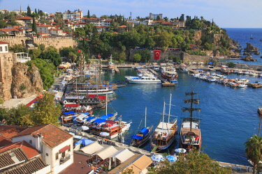 AS37EWI0590 Turkey, Antalya. Mediterranean coast bordered by the Taurus Mountains, Turkey's biggest international sea resort, located on the Turkish Riviera. Harbor scene with ships and boats.
