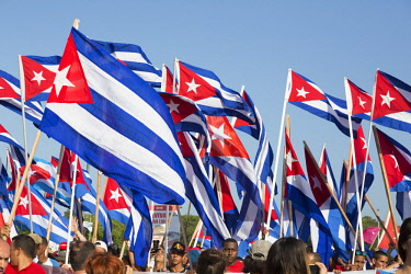 CA11BJY0128 Cuba, Havana, Revolution Square. Cuban flags at the Workers' Day Parade.