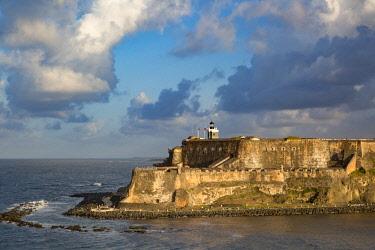 CA27BJN0050 Setting sunlight over fortress El Morro, old town, San Juan, Puerto Rico