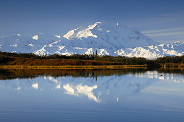 NIS00041769 Denali mountains, reflected in water, also known as Mount McKinley, its former official name, is North America's highest mountain at 20,310 feet or 6,190 meter, USA, Alaska, Denali National Park and P...